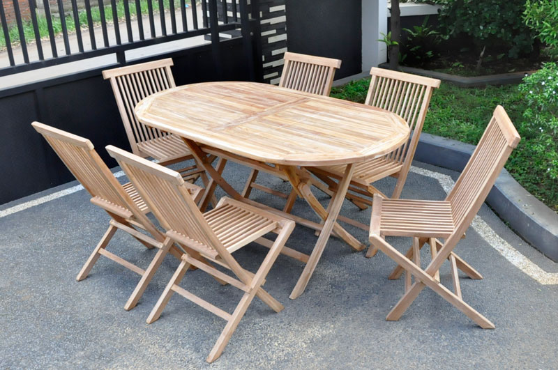 Products Page - Oval teak outdoor dining table