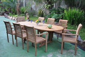 Set of Teak Stacking Chairs