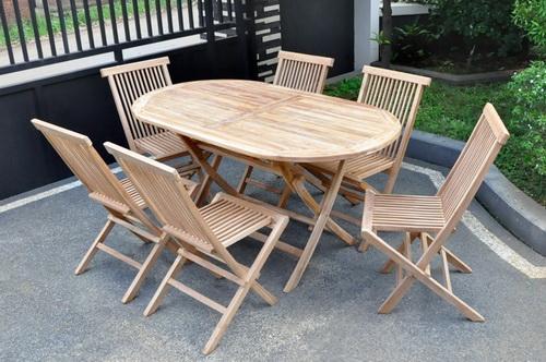Teak Outdoor Dining Table Set. Teak Folding Chair ...