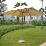 Teak Umbrella & Garden Lamp