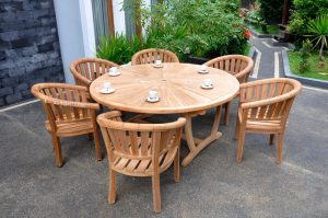 round teak outdoor dining table w